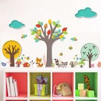 Cartoon Animals Creative Colorful Tree Wall Sticker For Kids Room Nursery Kindergarten Decor Cloud Birds Owls