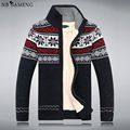 Size S -3XL 100% Cotton 2017 New Thicken Fleece Sweater Men Floral Pattern Cardigan Blusa Masculina Mens Clothing 13M0678