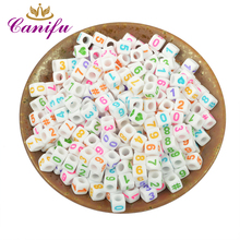 Canifu 6mm Random Mixed White Multi Color  Numbers Heart Acrylic  Cube  Spacer Beads For Jewelry Making DIY Bracelet 200pcs/lot