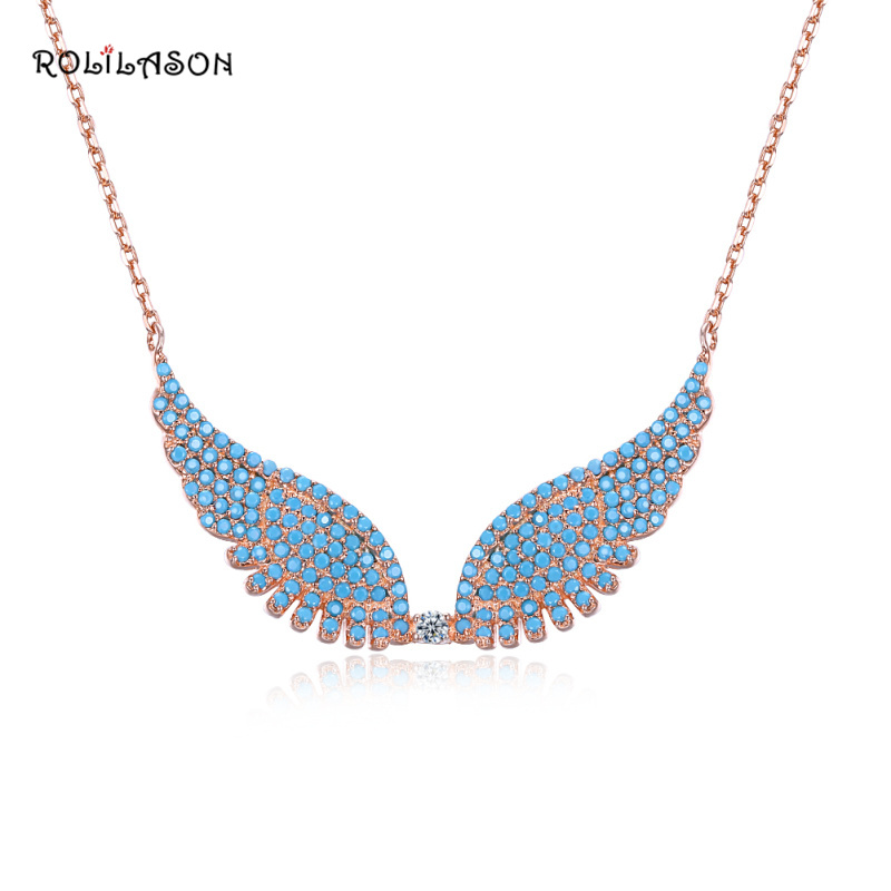 4.89g Amazing Fashion real 925 sterling silver Blue Ametrine Wing necklace pendant chain jewelry for women SP64