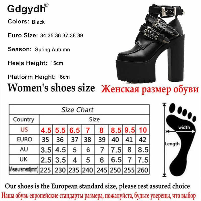 Gdgydh Mode Gesp Lederen Laarzen Vrouwen Zacht Leer Lente Herfst Zwarte Dames Enkellaarsjes Ultra Hoge Hakken Schoenen Platform