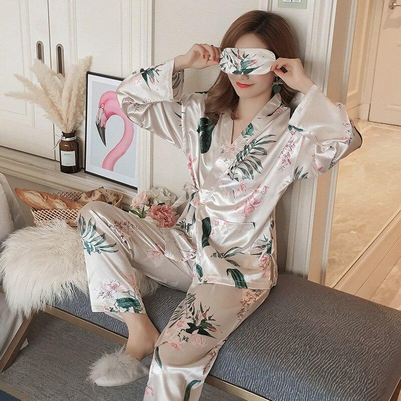 2019 Apring Women   Pajamas     Sets   with Pants Pyjama Satin Kimono Nightsuit Flower Print Nightwear Sleepwear Pyjama with Eyeshade