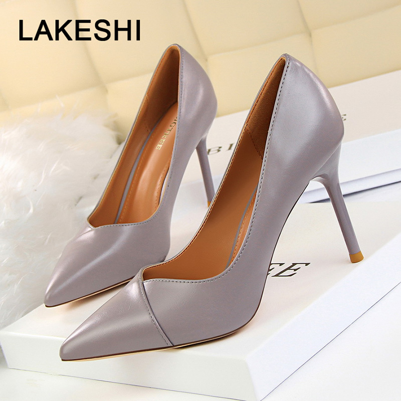 Women High Heels Pointed Toe Women Pumps Spring New Women Shoes Fashion Wedding Shoes Sexy Party Shoes Pu Leather Women Stiletto