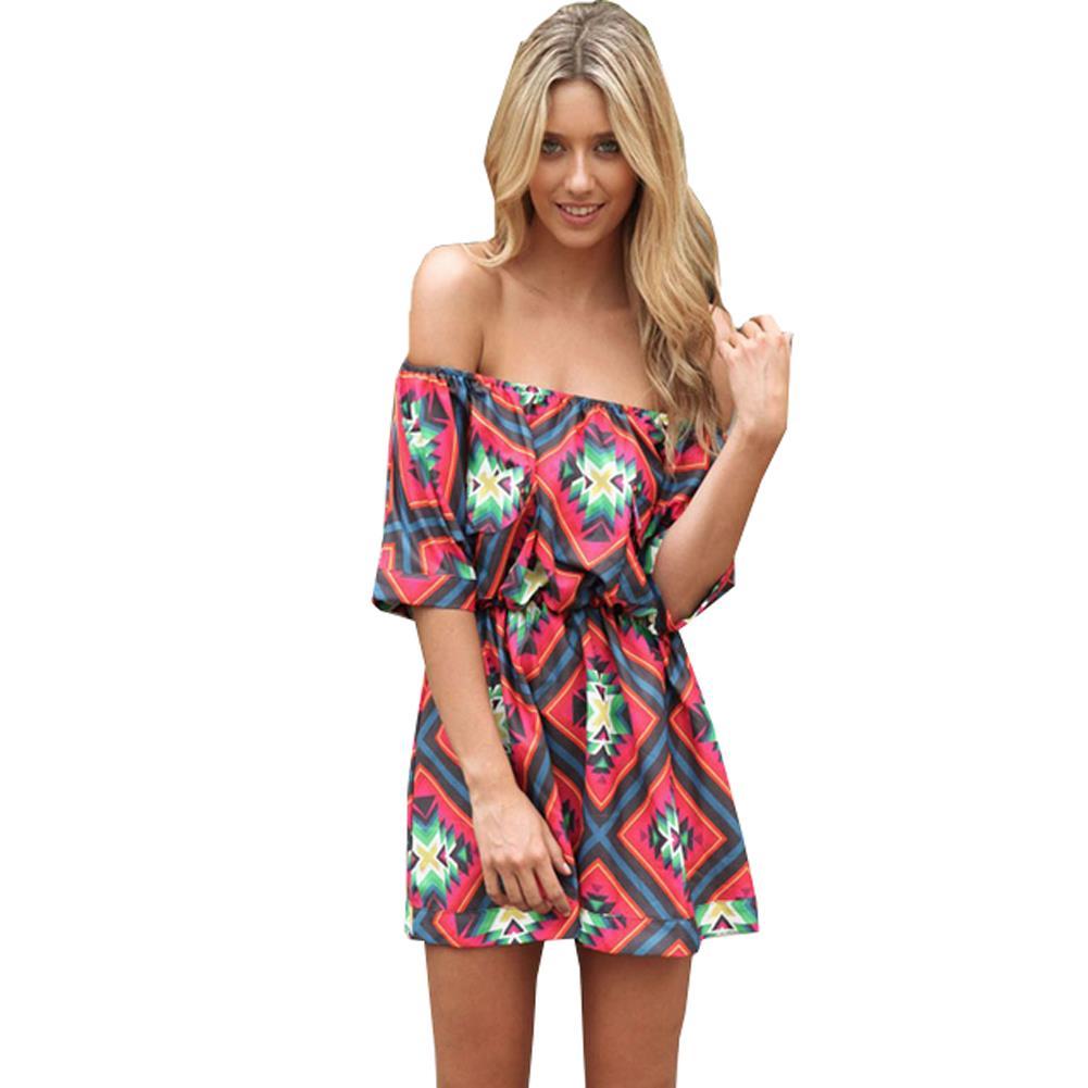 Buy Cheap Tropical Summer Style Plaid Flower Print Sexy Summer Dress 2015 Women Dress Slash Neck Dresses Women Clothing Vestidos Robe