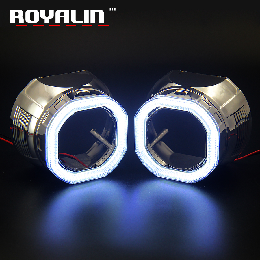 ROYALIN Car Styling LED Daytime Running Light COB DRL Octagon Shrouds Square Mask For Mini 2.5 HID Bi-Xenon Projector Lens H1