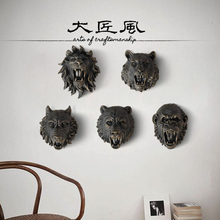 resin three-dimensional animal head wall decor crafts home Tiger lion wolf King Kong decoration statue