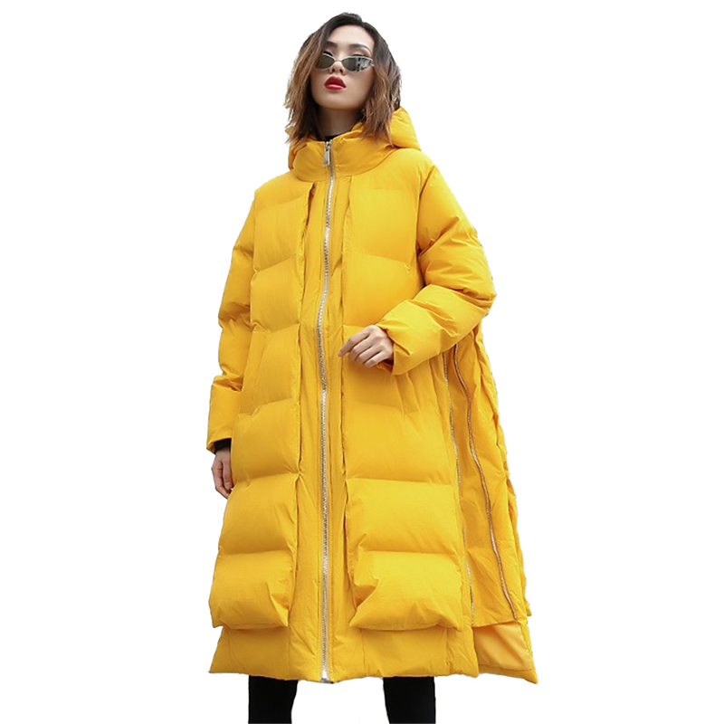 Large size Coat Women Autumn Winter Down cotton jackets Thick warm Hooded Tops Long Coats Female Loose Cotton-padded   Parkas   H622