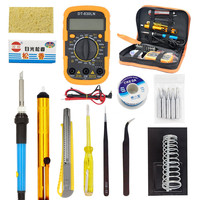 LCD Digital Temperature Adjust Soldering Iron Tool Set with Multimeter Set Soldering Station and Solder Iron Tips Tester Meter