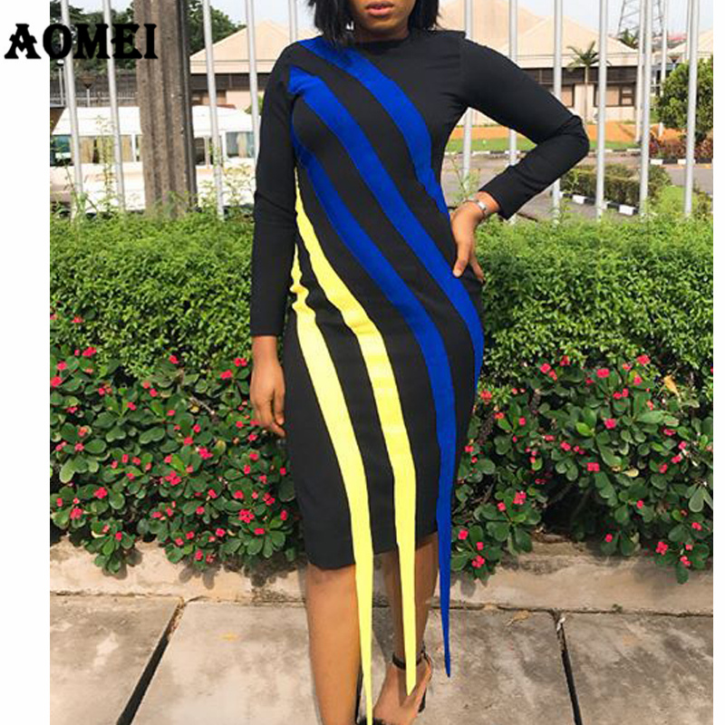 32eb968549 Women Dress Slim Black Blue Yellow Striped Long Sleeve Elegant Lady Modest Dresses  Robes Femme Spring New 2019 Casual Fashion-in Dresses from Women s ...