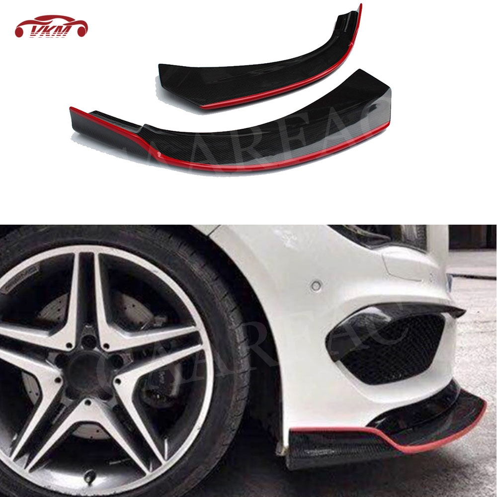 For W117 Front Lip Splitters Spoiler with Red line For Benz CLA Class C117 <font><b>CLA250</b></font> CLA260 CLA45 2014-2016 Bumper Guard Aprons image