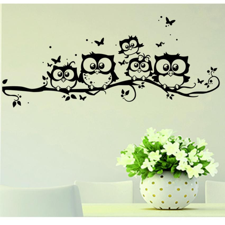 Wall sticker tree animals bedroom owl butterfly wall - Stickers decorativos para paredes ...