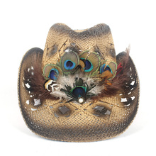 Sun-Hat Cowboy-Hat Peacock Western Beach-Cowgirl Women Feather-Sombrero Straw-Hollow