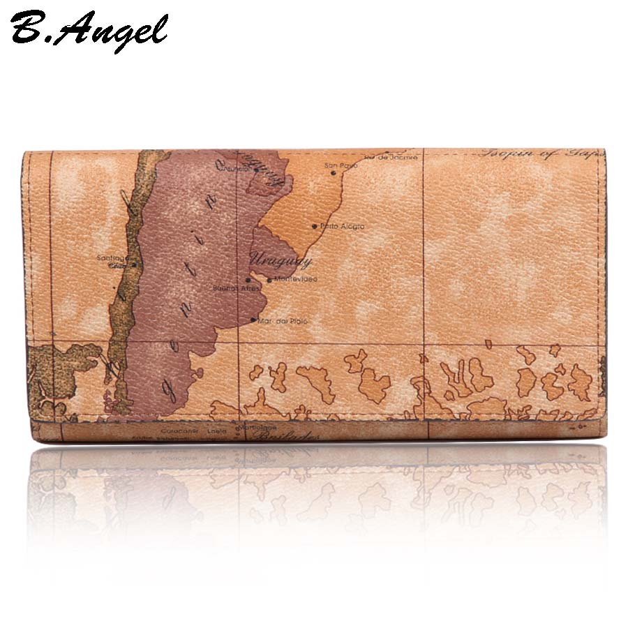 New Fashion World Map Wallet Women Purse Brand Wallet Men Multifunctional Long Design Hasp Leather Wallet Coin Purse Card Holder mynos vintage luxury brand design 100% genuine leather long wallet for men women zipper purse with card holder coin purse wallet