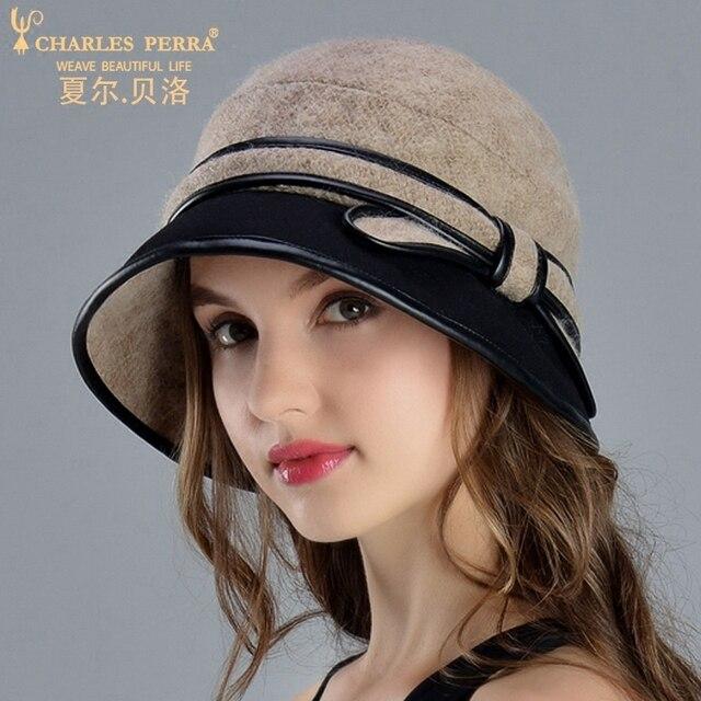 Charles Perra Marca Mulheres Chapéu de Outono Inverno Feminino e Elegante  Senhora Moda Chapéus Pequenos Fedoras 8f8566e7aaff4