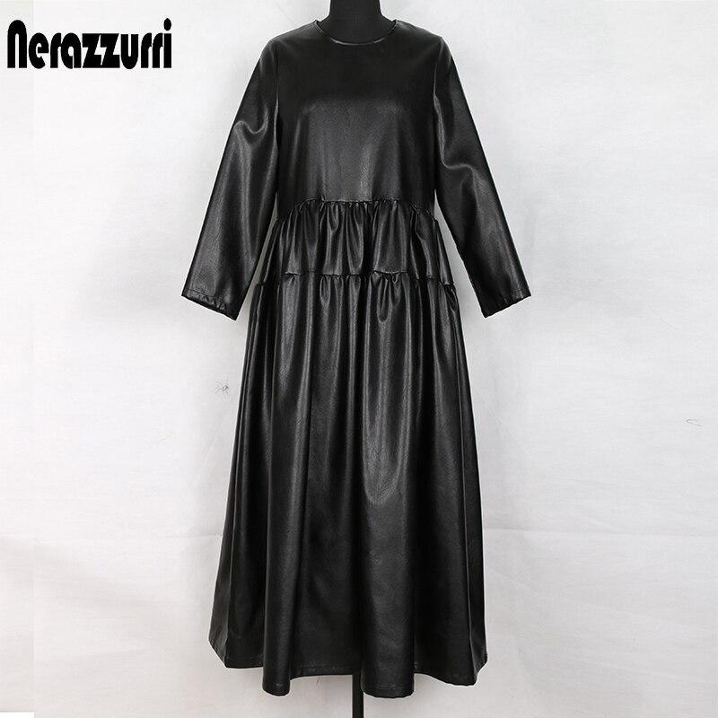 Nerazzurri black pu leather dress women long sleeve maxi dress pleated ladies plus size clothing for