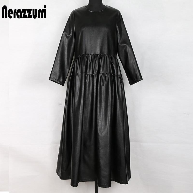 Nerazzurri black pu leather dress women long sleeve maxi fall dress pleated long ladies plus size clothing for women 4xl 5xl 6xl(China)