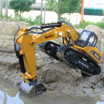 Huina 580 RC Car 23-Channel Remote Control Alloy Excavator RC Truck DieCast Metal Engineering Construction Vehicle Model Kid Toy