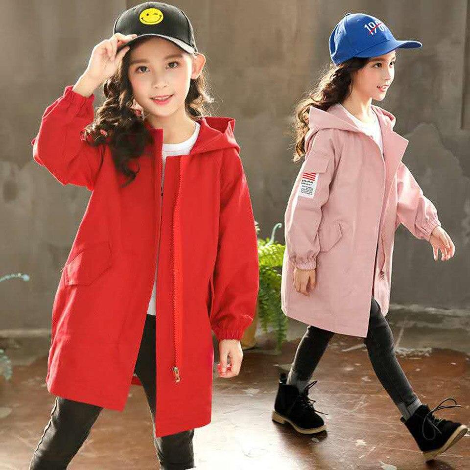 Детские пальто для девочек; сезон весна осень; Тренч; Верхняя одежда для детей; ветровка для девочек 10, 12, 14 лет; куртки для детей подростков
