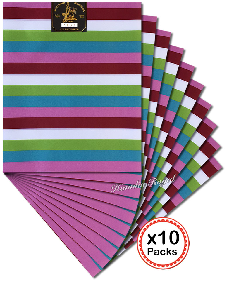 10 Packs 20 pieces Stripe patterns African SEGO headtie Wrapper Scarf for group aso ebi Free
