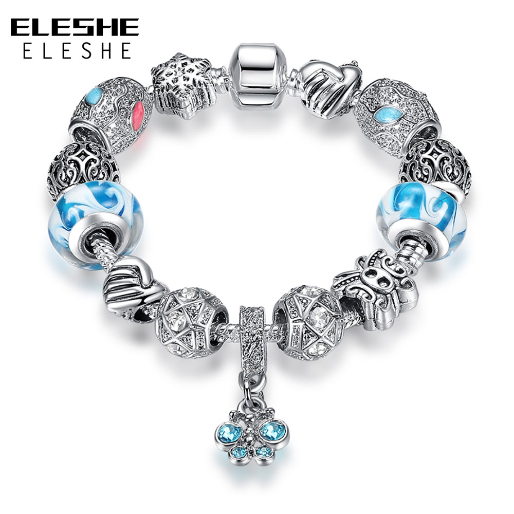 ELESHE European Silver Murano Glass Bead Bracelet For Women Butterfly Charms Bracelet Bangle Fashion Jewelry Pulsera Mujer