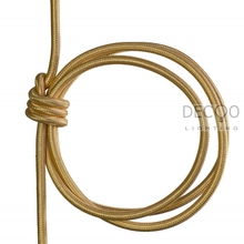 Free Post Electric Cable Flex Wire Silk Golden Antique Vintage Lamp  Light Cord