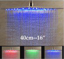 """Lüks Fırçalı Nikel LED 16 """"Yağmur Duş Başlığı Paslanmaz Çelik Kare Renk Değiştirme Işıklar Showerhead"""