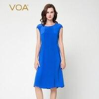 Voa Лето 2017 г. короткий рукав Королевский синий краткое, шелковое платье круглый вырез горловины Средний Талия комфорт Для женщин деловая мод