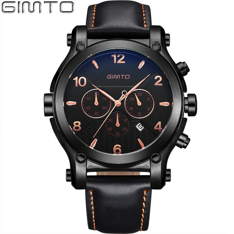 GIMTO Big Dial Luxury Men Watches Date Genuine Leather Military Quartz-watch Waterproof Sport Men Wrist Watch Montre Relojes pattous mens sports watch black genuine leather chronograph dial date sport quartz watches miyota quartz wrist watch gift box