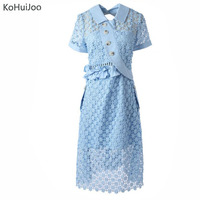KoHuiJoo Summer Women Lace Dress Button Ruffles Hollow Sexy Backless White Blue Crochet Lace Dresses Party Knee Length