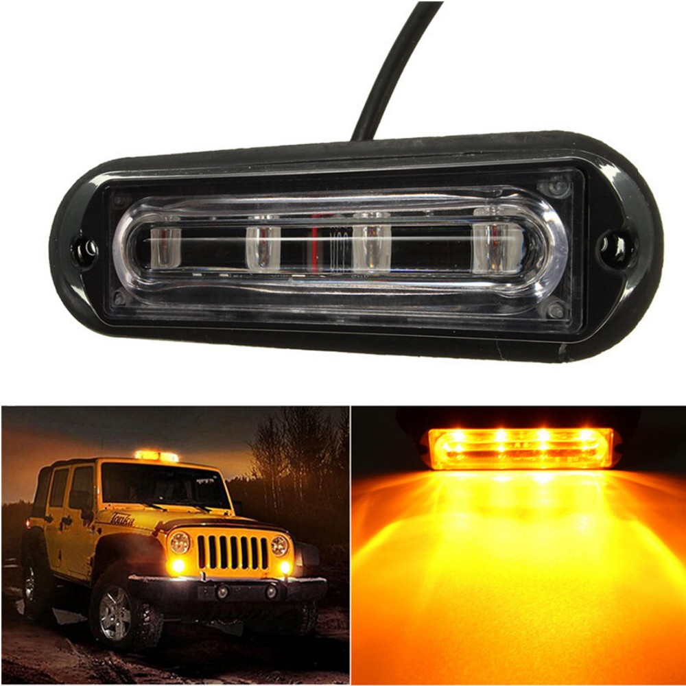 Crek Dc 12-24v 4 Led Waterproof Car Truck Strobe Flash Warning Light Side Maker Light Amber Lamp Car Lights Car Light Assembly