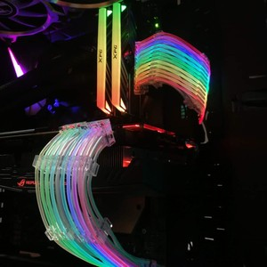 Image 5 - Lianli strimer 24 8 네온 라인 24 핀 전원 rgb psu 케이블/vga 8 p + 8 p 연장 어댑터 케이블 5 v 3pin D RGB 헤더 aura sync