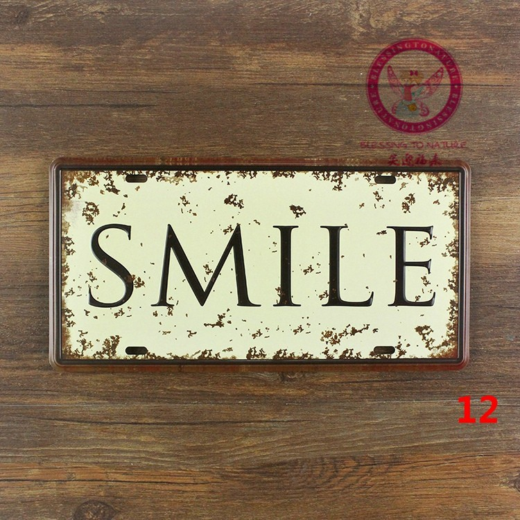 About Car number  SMILE  License Plates plates Vintage Metal tin sign Wall art craft painting 15x30cm