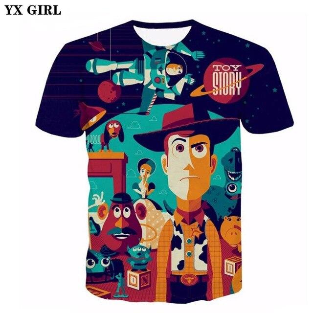 655075481346 Yx chica 2018 verano nuevo mens 3D Camiseta clásica historieta Toy Story  impreso hombres/camisetas de las mujeres camiseta ocasional envío de la ...