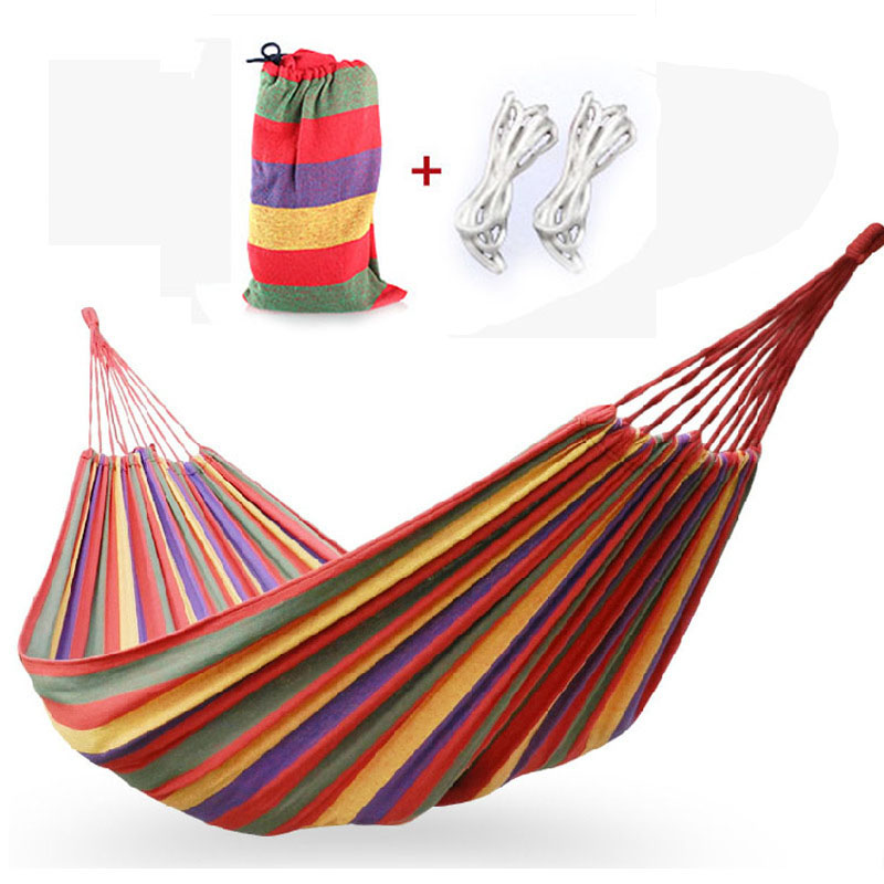 2017 New Hot Sale High Quality Cotton Rope Outdoor Swing Fabric Camping Hanging Hammock Canvas Bed