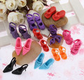 500Pairs/lot Wholesale High Quality High-heel Shoes For Barbie Dolls Mixed Styles Sandals Slippers 10Pairs/Pack  Doll Shoes Pack