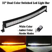 32 inch 180W Dual Color Switched White Amber Strobeflash Led Curved Work Light Bar Offroad SUV Truck Remote Green/Blue/Red