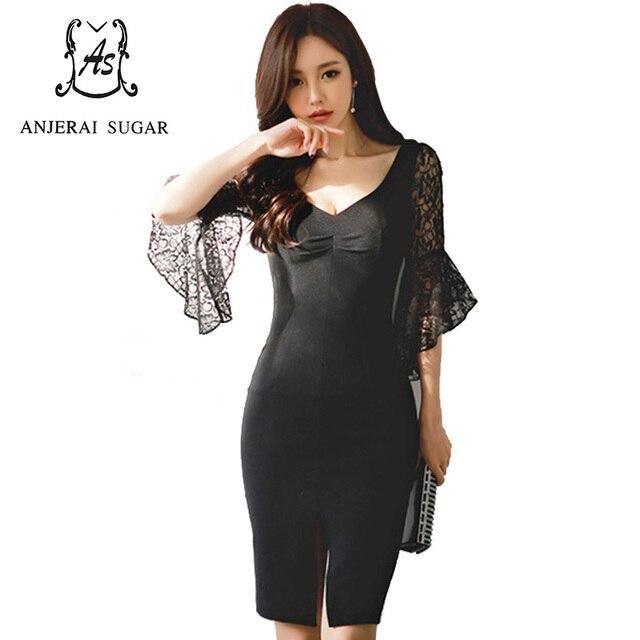 7ea6bb3f0d Summer women dress black sexy slim Low-cut V-Neck split joint lace Flare  Sleeve vestidos Split ends package hip bodycon dresses