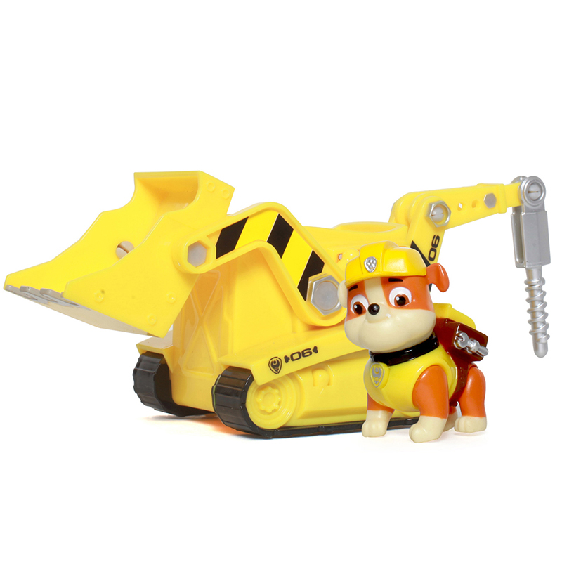Paw Patrol Rubble Diggn Bulldozer works with Patroller Anime Doll Action Figures Car Toy Patrulla Kids Gift Genuine Original lps pet shop toys rare black little cat blue eyes animal models patrulla canina action figures kids toys gift cat free shipping