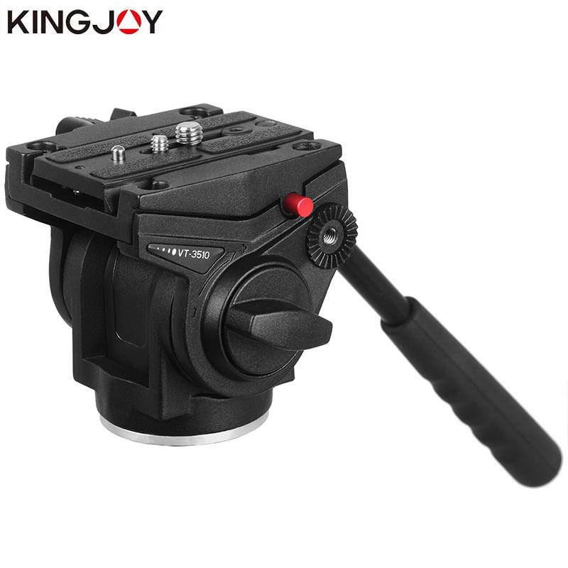 KINGJOY Official VT 3510 Video Tripod Head For Camera Aluminum Stand Alloy Fluid Damping Holder Stativ