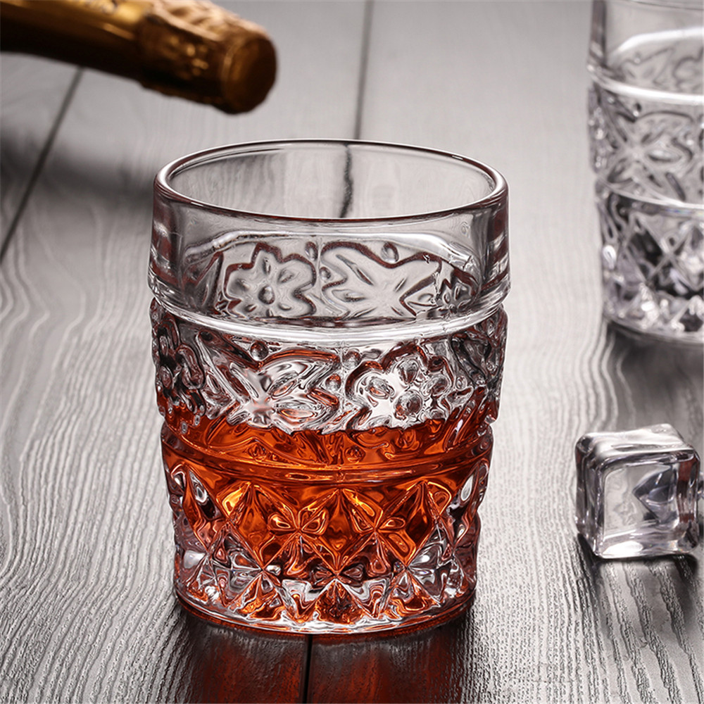 Floral Designs Whiskey Glass Cup Ultra Clear Like Crystal Thicken Lead-Free Wine Beer Whisky Home Bar Party Wedding Drinkware