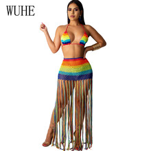 цена на WUHE Sexy Handmade Crocheted Tassel Casual Two Pieces Sets Beach Dress Elegant Halter Hollow Out See Through Grid Fringe Dress