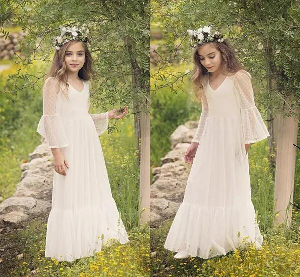 2018 Flower Girl Dresses A Line V Neck Long Sleeve Floor Length Lace Girls Pageant Dresses For Wedding Communion Gown floral girls princess dress for dancing costume short sleeve v neck floor length flower girl dresses family matching outfits