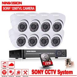 NINIVISION 1200TVL 720 P HD kryty nadzoru aparatu bezpieczeństwa w 8 kanałowy 1080N HDMI CCTV DVR zestaw 8CH kamera AHD zestaw 2 TB
