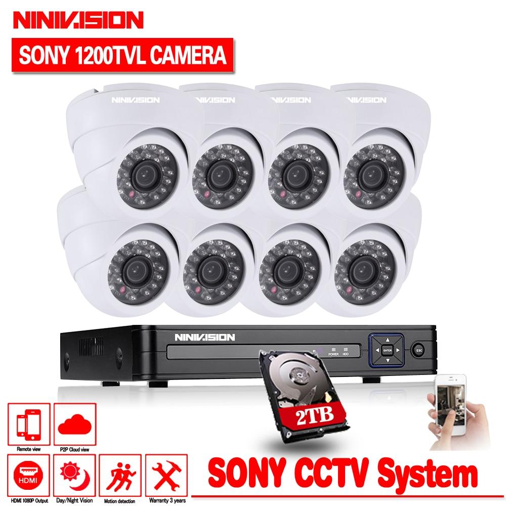 NINIVISION 1200TVL 720P HD indoor Surveillance Security Camera System 8 Channel 1080N HDMI font b CCTV
