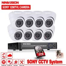 NINIVISION 1200TVL 720P HD indoor Surveillance Security Camera System 8 Channel 1080N HDMI CCTV DVR Kit 8CH AHD Camera Set 2TB