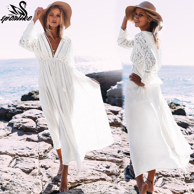 9e73a537617809 2019 Sexy Beach Cover Up Swimsuit White V Neck Hollow Out Beach Long Dress  Women Bikini Swimwear Bathing Suit Summer Beach Tunic