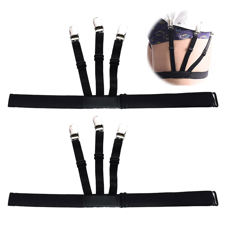 Shirt Stays Garters Holder Elastic 1Pair Soft Black Shirt Holders Comfortable Anti-wrinkle Antiskid Adjustable 2 Models