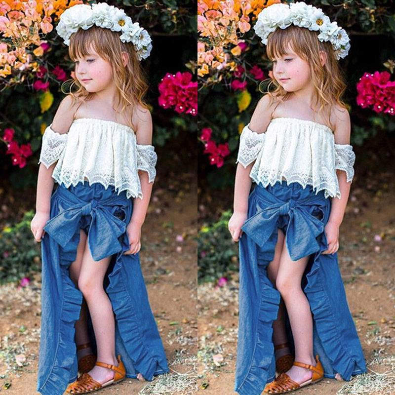 Wholesale 3PCS Cute Toddler Girl Sets Off Shoulder Lace White T Shirts Blue Denim Shorts Ankle