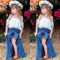 卸売 3 個かわいい幼児女オフショルダーレースホワイト Tシャツブルーデニムショーツ足首までの長さドレス衣装 1-5 T MN001