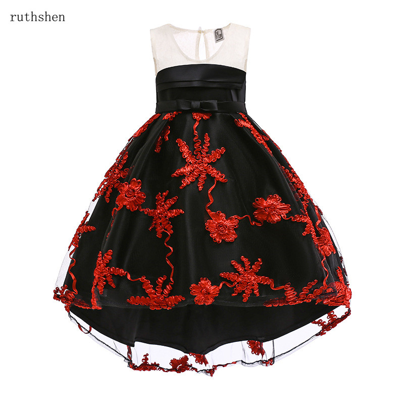 ruthshen 2018 Hot Sell   Flower     Girl     Dress   With Burgundy Royal Blue Princess   Dress     Flower     Girl   Pleat Pageant   Dresses   Lowest Price